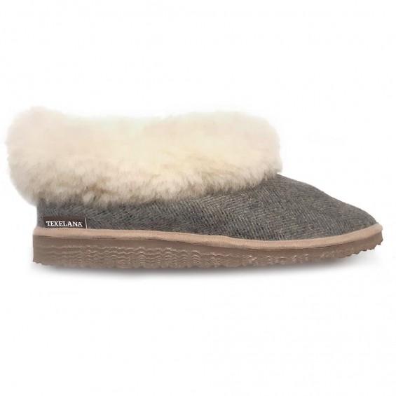 Pippa Tweed pantoffel van schapenvacht