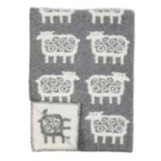 Klippan Sheep ledikantdeken van eco-wol met schaapjes
