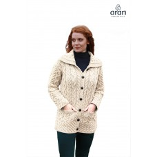 Aran Woollen Mills - damesvest met knopen