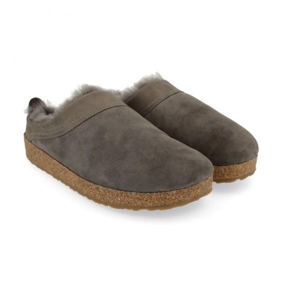 Haflinger - Snowbird   schapenvacht pantoffel met kurk zool