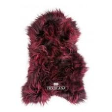 Geverfde IJslander schapenvacht langharig/ bourgondisch rood
