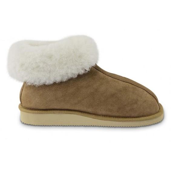 Rita pantoffel van lamsvacht met rits