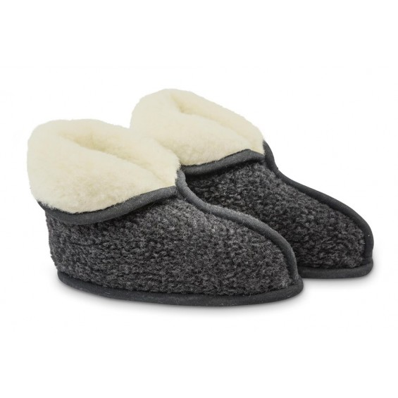 Lisa slaapkamer pantoffel van wol - zwart-wit
