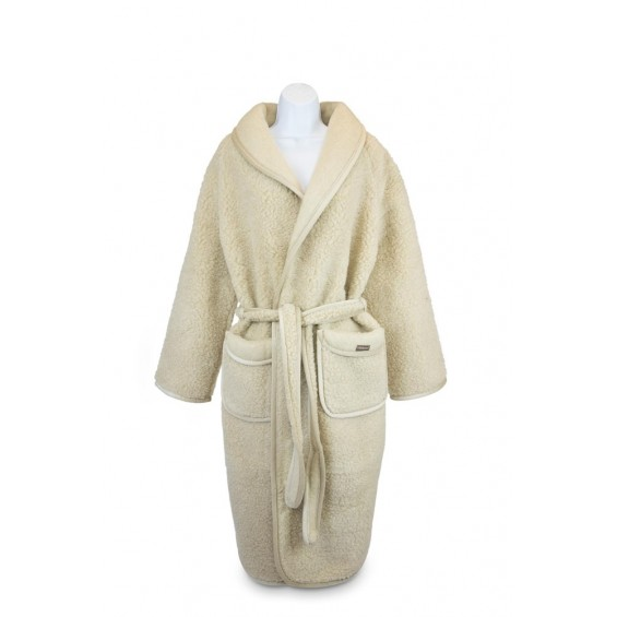 Badjas van schapenwol en tricot.