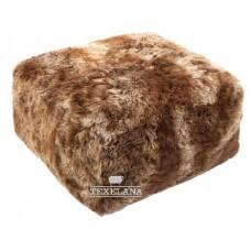 Vachtpoef kubus van IJslandse schapenvacht - roestbruin