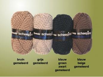Super Noorse breiwol - blauw-bruin-beige gemêleerd
