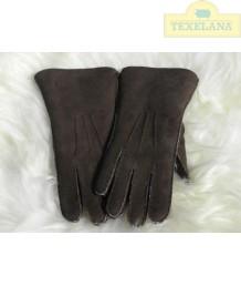 Vingerhandschoenen van lamsvacht Donkerbruin